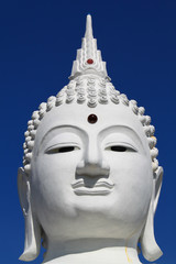 Face of White Buddha in thailand temple