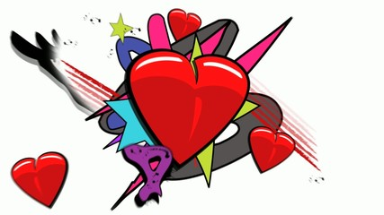 Pop Art love graffiti hearts animation