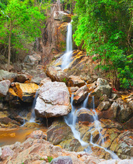 beautiful cascade waterfall, koh Samui, Thailand