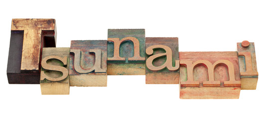 tsunami word in letterpress type