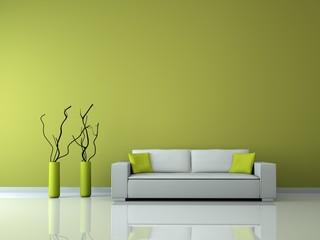 minimalistisches Wohnzimmer grün