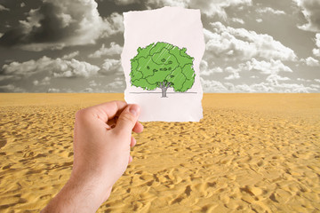 Tree in desert idea
