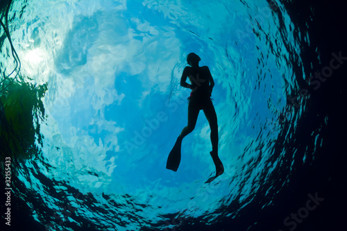 Silhouette of an attractive female snorkeler