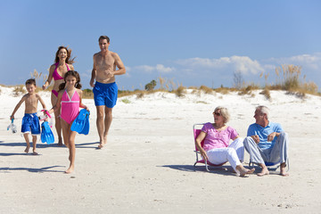 Mother, Father Children & Grandparents Family on Beach