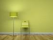 Stuhl grün mit Stehlampe
