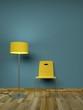 Stuhl orange vor blauer Wand
