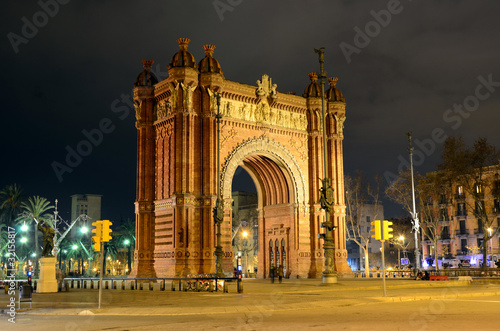 Arc de Triomf at night in Barcelona