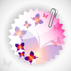 Round sticker with butterflies. Vector illustration.
