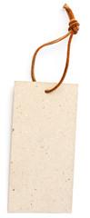 """étiquette cartonnée """"recyclable"""" et cordonnet cuir"""