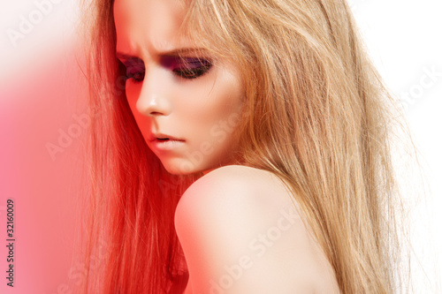 Rock style. Beauty portrait of beautiful female model