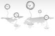 Clocks standing on World Map
