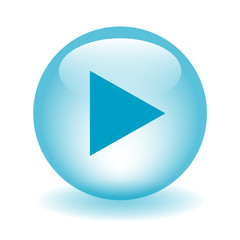 PLAY Web Button (video watch media player live music icon blue)