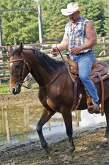 Man Riding A Horse Outdoors