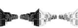Residential Houses In The Settlement Vector 02 poster