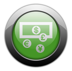 "Green Metallic Orb Button ""Currency Exchange"""