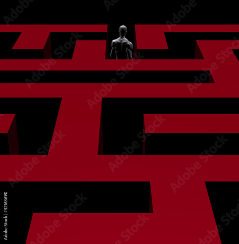 man exiting maze 3d illustration
