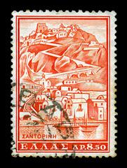 santorini vintage postage stamp