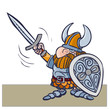 Cartoon viking warrior vith sword and shield.