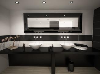 Cuarto de baño blanco y negro