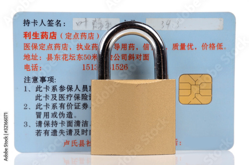 credit card and lock