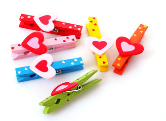 wooden clothes pins with hearts