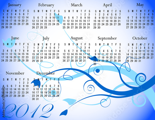 2012 Floral Calendar in Winter Colors