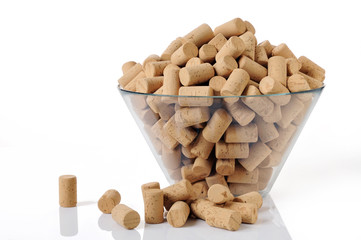 A lot of new corks in a bowl