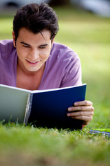 Man studying outdoors