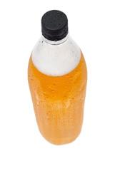 Plastic bottle of beer on white