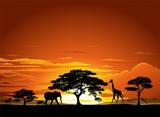 Savana Tramonto e animali-Savannah Sunset and Animals-2-Vector