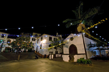 night scenery with old square in funchal on madeira, portugal