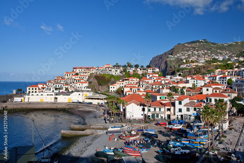 fishing village camara de lobos on madeira island, portugal