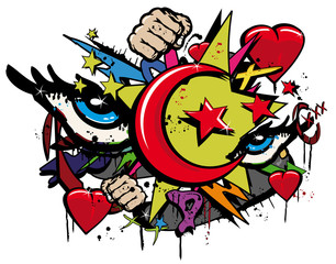 Graffiti Révolution Arabe Pop art illustration
