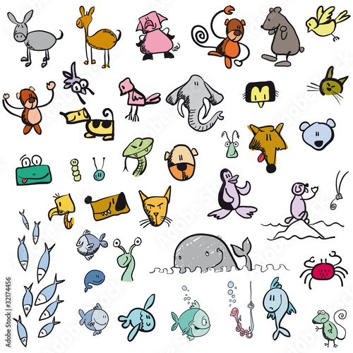 comic vector animal set illustration cartoon
