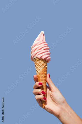 ice cream cone of strawberry