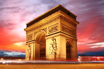 Paris, Famous Arc de Triumph at evening , France