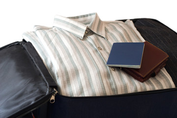 clothes, wallet and passport isolated