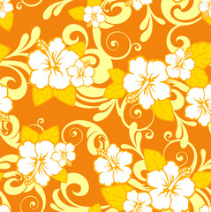 hibiscus flower orange seamless