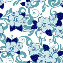 blue hibiscus flower seamless