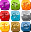 Globe icon button set