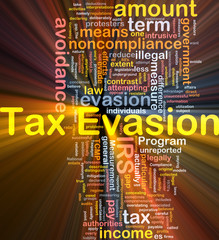 Tax evasion background concept glowing