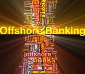 Offshore banking background concept glowing
