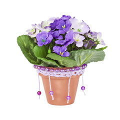 Artificial violet in ceramic pots, decorated with beads