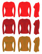 Women long sleeve t-shirt templates in different colors