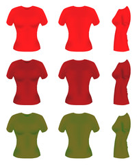 Colorful women t-shirt templates from all angles