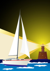 Lighthouse and sailing yacht