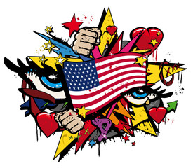 Graffiti USA flag pop art illustration