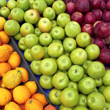 apples and bergamots at the local market, natural background