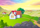 BEAUTIFUL VILLAGE ,VAST FIELDS and HOUSES in SPRING poster