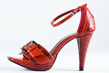 Red high-heels woman shoes